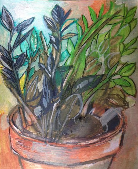 Color Calisthenics no. 2. One hour color study of Zamioculcas zamiifolia houseplant. Concentrated ink stick, aquarelle, acrylic on mixed media paper.