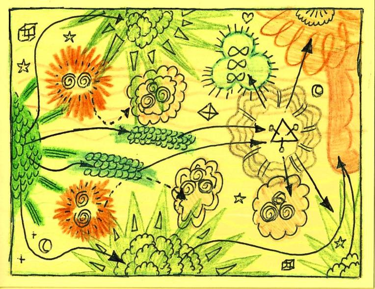 "Cellular Respiration. Highlighter, colored pencil, ballpoint pen on cardstock. 5.5"" x"
