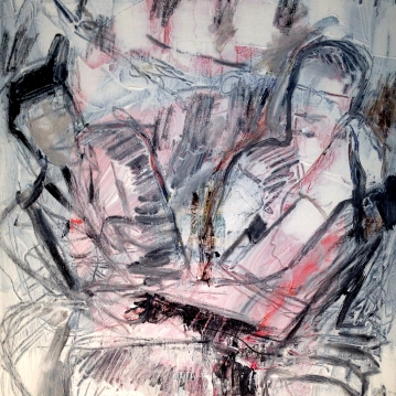 "Untitled (Absence Study). Acrylic and charcoal on canvas. 16"" x 20"""