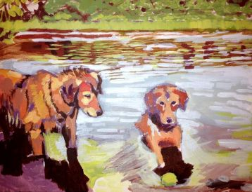 """River Dogs. Acrylic on canvas. 14"""" x 11"""""""
