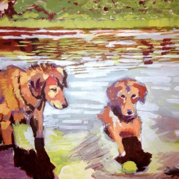 "River Dogs. Acrylic on canvas. 14"" x 11"""