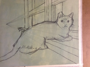 Graphite plan for feline portrait