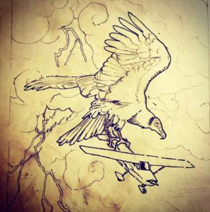 Thunderbird (initial pen drawing)