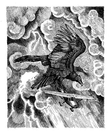 """Thunderbird. Ink on drawing paper. 6.5"""" x 8.25"""""""