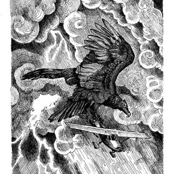 "Thunderbird. Ink on drawing paper. 6.5"" x 8.25"""