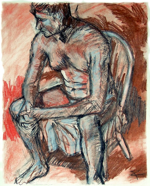 "Seated male (study). Conté crayon, charcoal on heavyweight paper. 14"" x 17"""