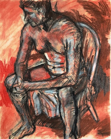 """Seated figure (study). Conté crayon, charcoal on heavyweight paper. 14"""" x 17"""""""