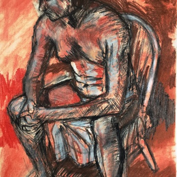 "Seated figure (study). Conté crayon, charcoal on heavyweight paper. 14"" x 17"""