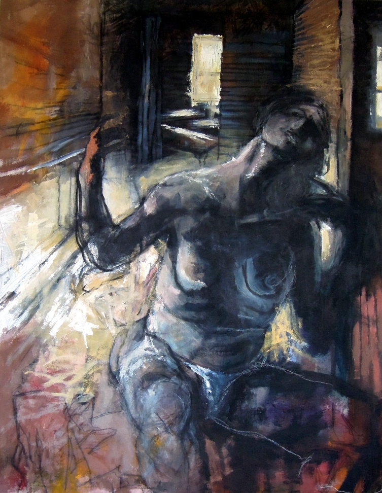"Rising Figure (Madone noire). Acrylic & charcoal on canvas. 48"" x 52"""