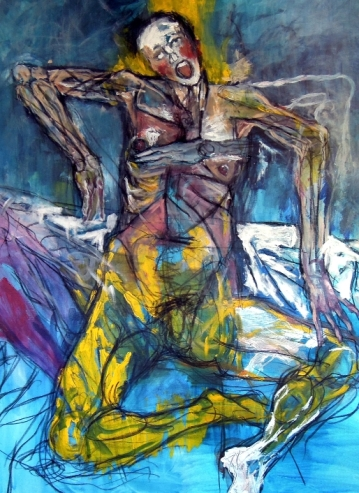 "Tuberculosis. Acrylic & charcoal on canvas. 36"" x 48"""