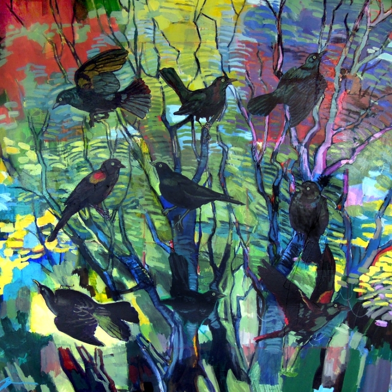 "Dynamo I: Nine Blackbirds. Acrylic, charcoal, ink on canvas. 40"" x 40"""