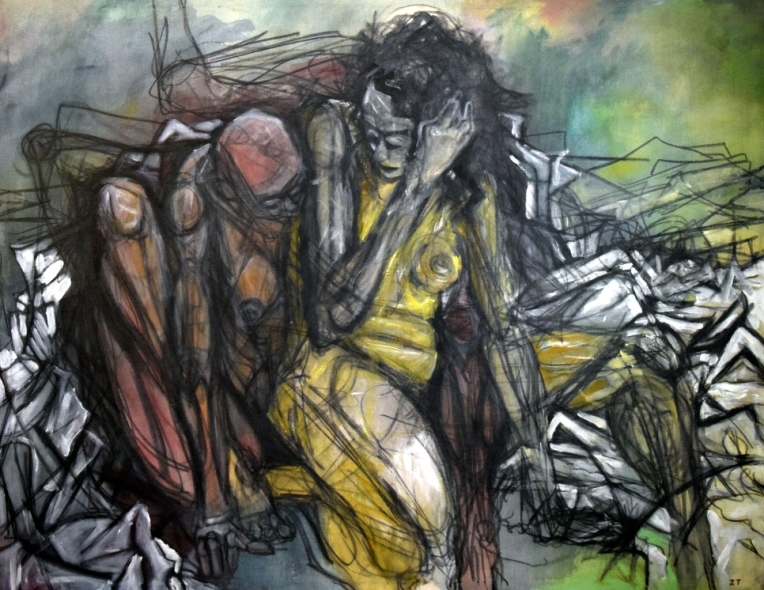 """Imaginary Figures. Acrylic and charcoal on canvas. 36"""" x 48"""""""