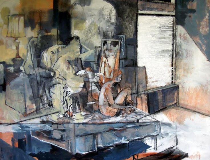 "Seated Figures. Acrylic & charcoal on canvas. 48"" x 36"""