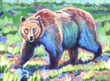 "Ursus arctos horibilis. Acrylic on canvas. 9"" x 12"""