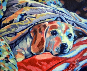 "Beagle Beneath Blanket. Acrylic on canvas. 8"" x 10"""