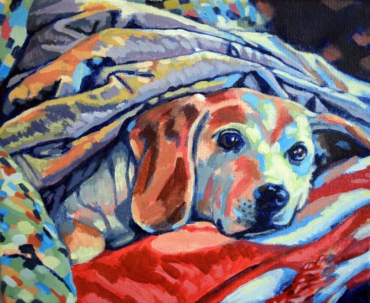 "Beagle Beneath Blanket. Acrylic on canvas. 8"" x 10"""
