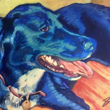 "Schatzie. Acrylic on canvas. 11"" x 14"""