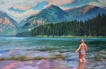 """Bather at Holland Lake. Acrylic and ink on canvas. 24"""" x 36"""""""