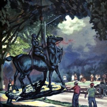 "Flight of General Robert E. Lee. Acrylic on canvas. 18"" x 24"""