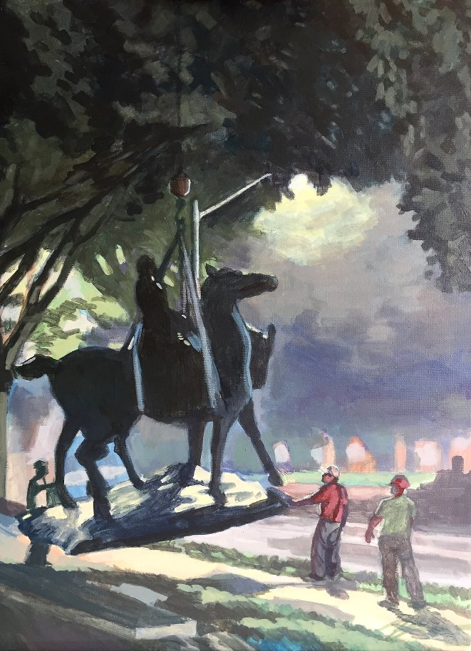 Removal of a Confederate Monument at Baltimore, MD, or Flight of General Robert E. Lee (working titles). Acrylic on canvas. 18 x 24.