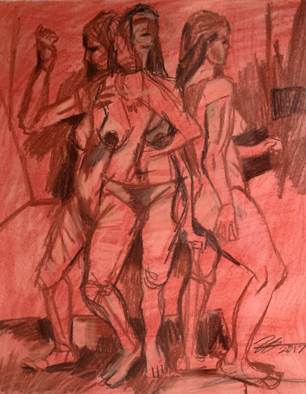 "Three Figures. Charcoal and conte crayon on drawing paper. 14"" x 17"""