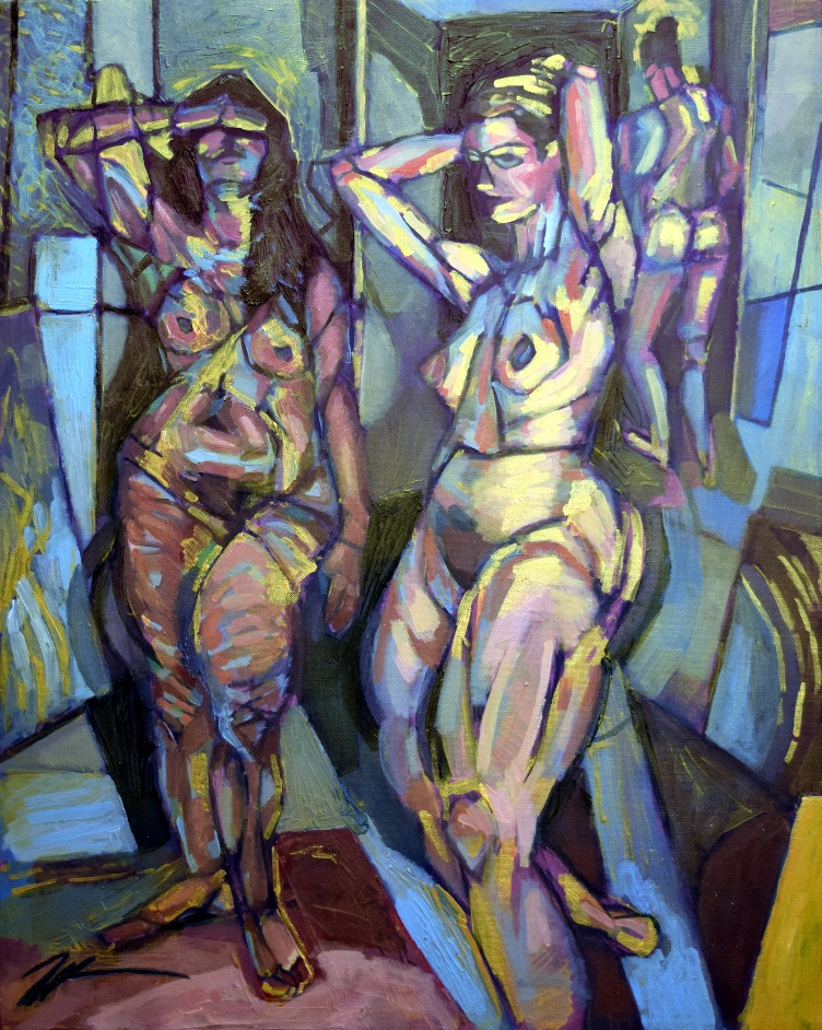 "Three Figures. Acrylic, ink and charcoal on canvas. 24 "" x 30"""