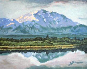 "Denali. Acrylic on canvas. 11"" x 14"""