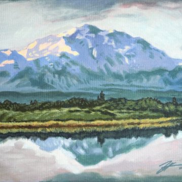 "Denali. Acrylic on canvas. 11"" x 14"""
