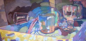 """Vessel Work. Acrylic and ink on canvas. 18"""" x 36"""""""