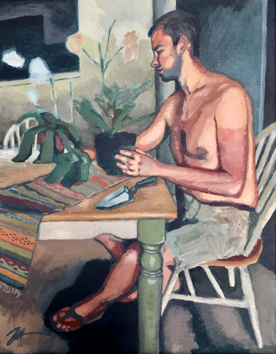 Mr. Jobe Surveying his Winter Orchids. Acrylic on canvas.