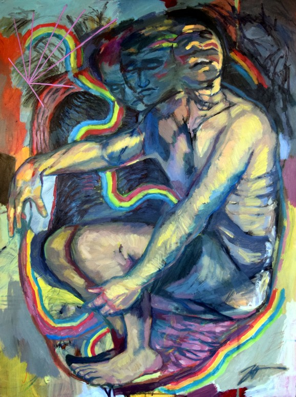"Resuscitation (Self Portrait). Acrylic, ink and charcoal on canvas. 36"" x 48"""