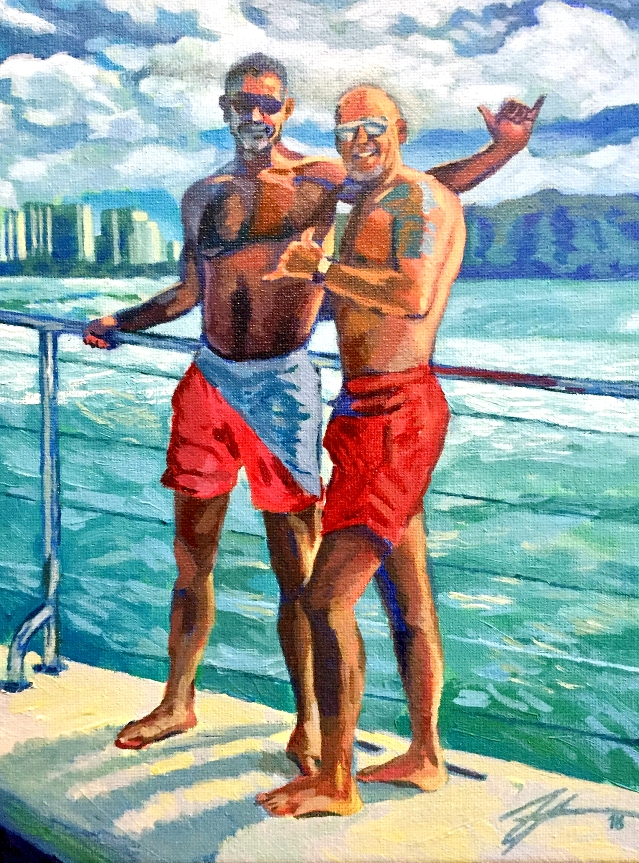 "Portrait of Men on a Hawaiian Coast. Acrylic on canvas. 8"" x 10"""