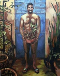 "Self-Portrait (Oaxaca). Acrylic on canvas. 18"" x 24"""