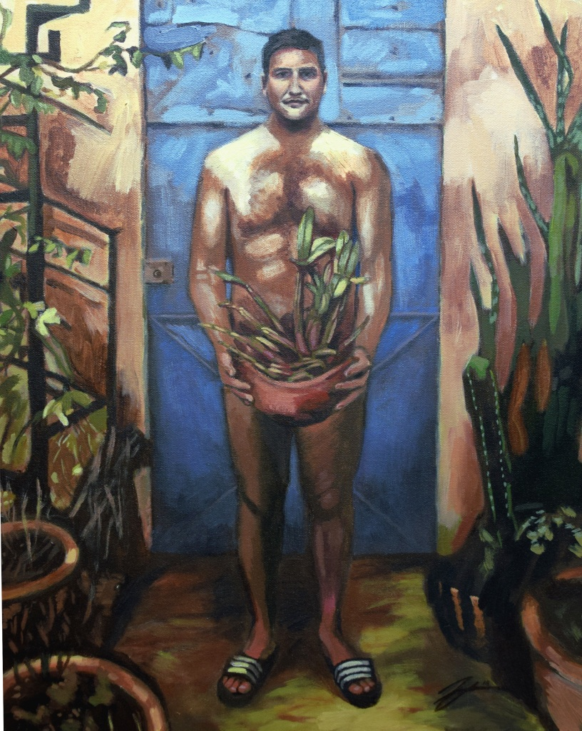 "Self-Portrait (Oaxaca). Acrylic on canvas. 18"" x 24"""